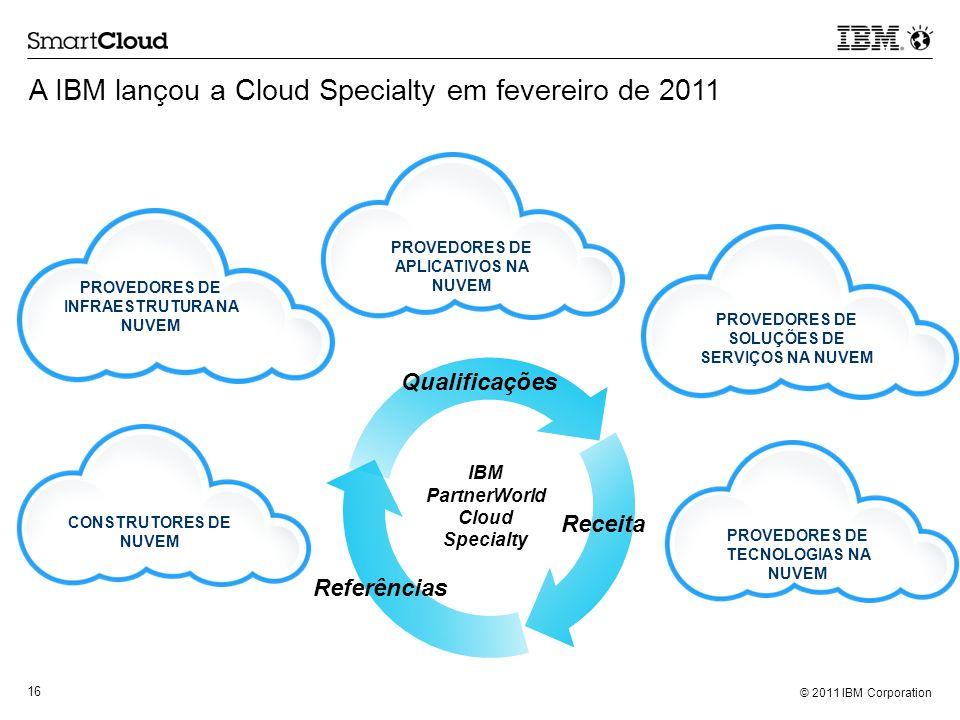 © 2011 IBM Corporation 16 A IBM lançou a Cloud Specialty em fevereiro de 2011 CONSTRUTORES DE NUVEM PROVEDORES DE SOLUÇÕES DE SERVIÇOS NA NUVEM PROVED