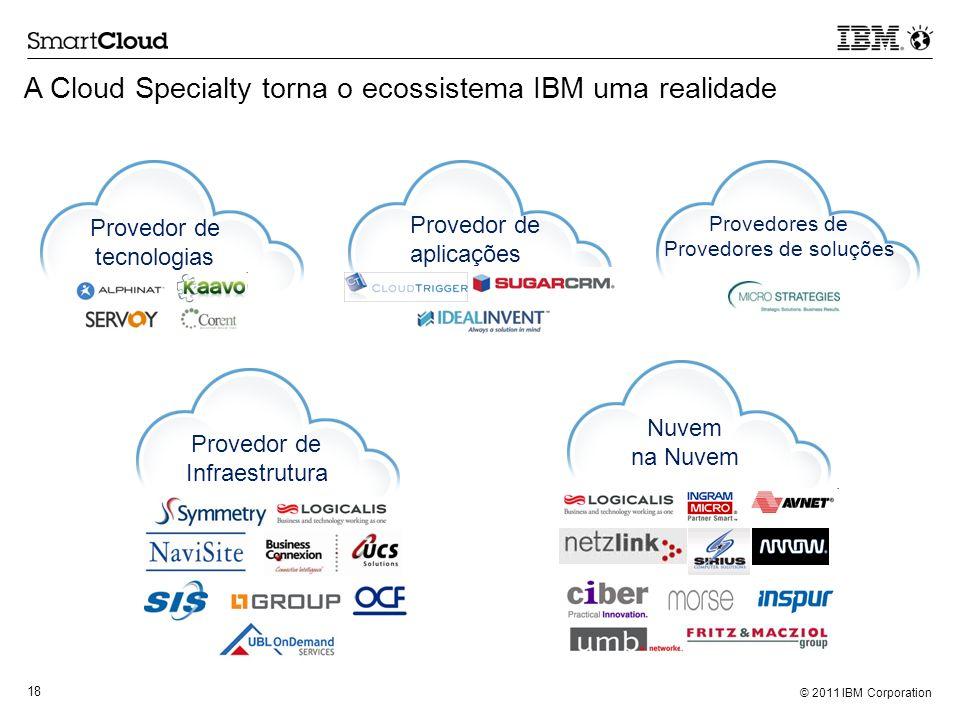 © 2011 IBM Corporation 18 Provedor de tecnologias A Cloud Specialty torna o ecossistema IBM uma realidade Provedor de aplicações Provedores de Provedo