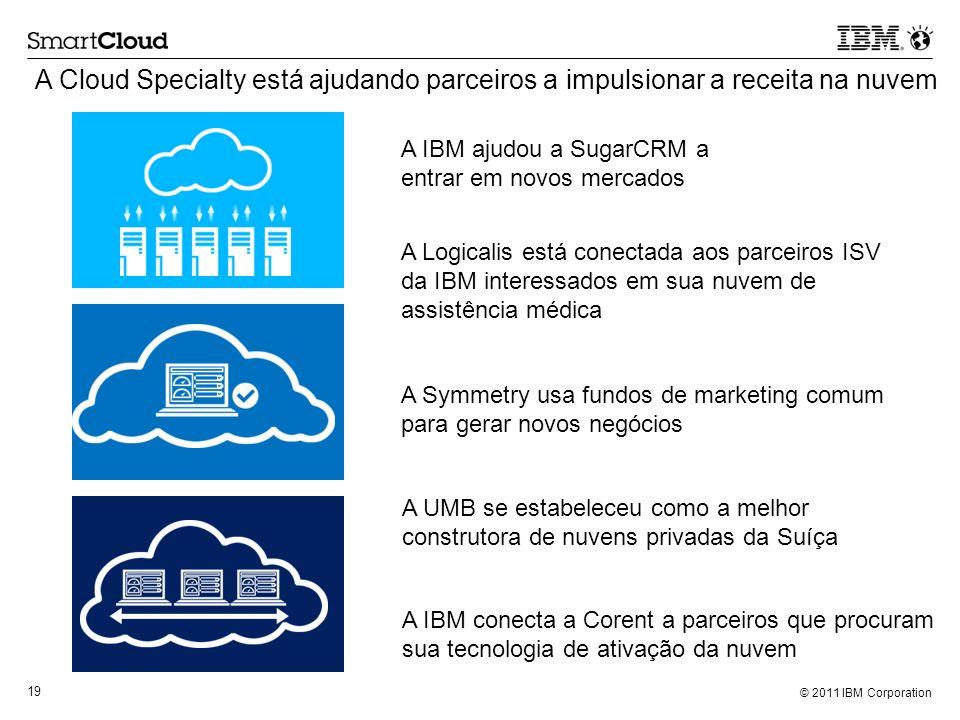 © 2011 IBM Corporation 19 A Cloud Specialty está ajudando parceiros a impulsionar a receita na nuvem A IBM conecta a Corent a parceiros que procuram s