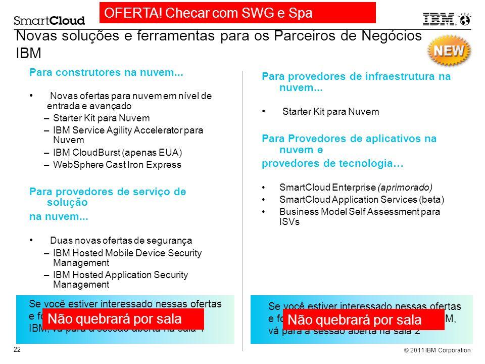© 2011 IBM Corporation 22 Novas soluções e ferramentas para os Parceiros de Negócios IBM Para construtores na nuvem... Novas ofertas para nuvem em nív