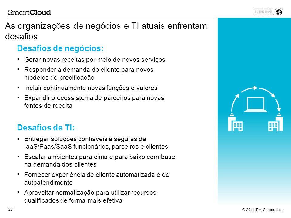 © 2011 IBM Corporation 27 As organizações de negócios e TI atuais enfrentam desafios Desafios de negócios: Gerar novas receitas por meio de novos serv