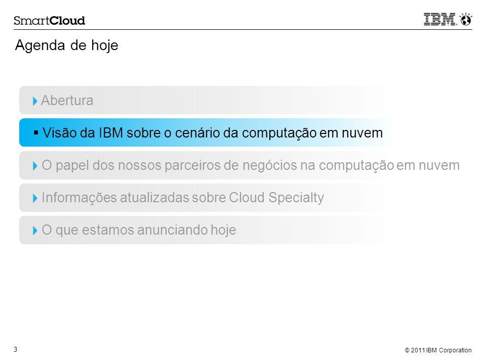© 2011 IBM Corporation 3 Agenda de hoje Abertura Visão da IBM sobre o cenário da computação em nuvem O papel dos nossos parceiros de negócios na compu