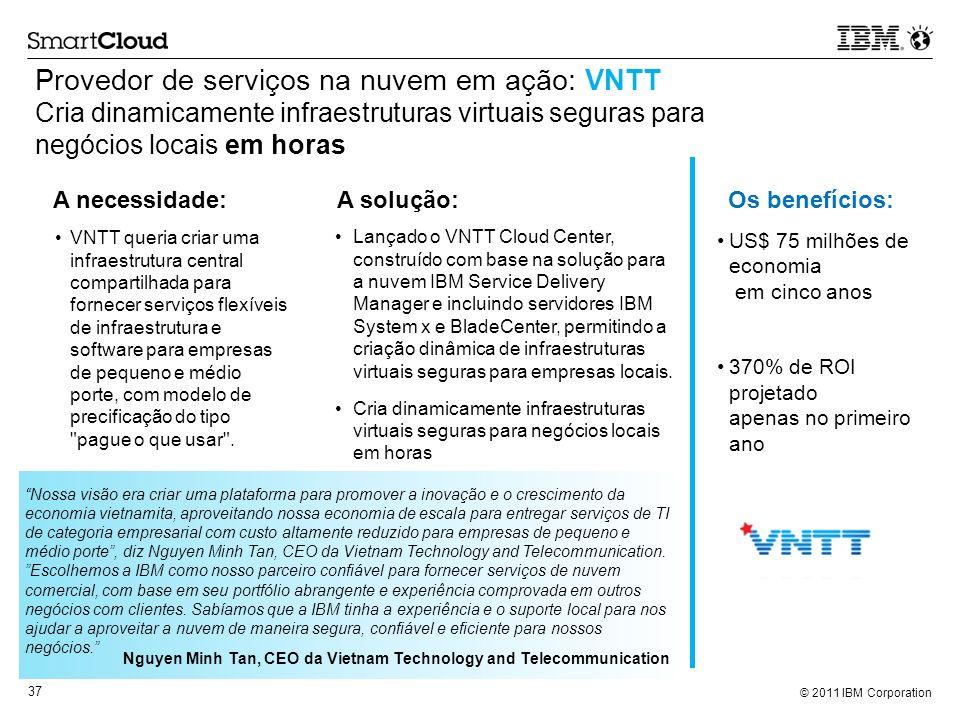 © 2011 IBM Corporation 37 Provedor de serviços na nuvem em ação: VNTT Cria dinamicamente infraestruturas virtuais seguras para negócios locais em hora