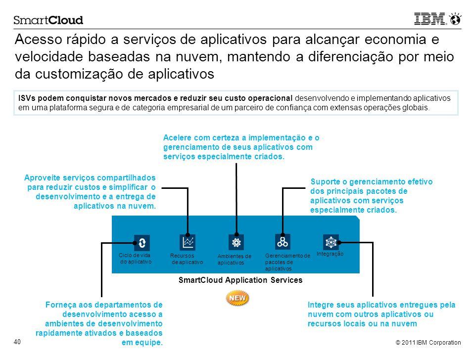 © 2011 IBM Corporation 40 Acesso rápido a serviços de aplicativos para alcançar economia e velocidade baseadas na nuvem, mantendo a diferenciação por