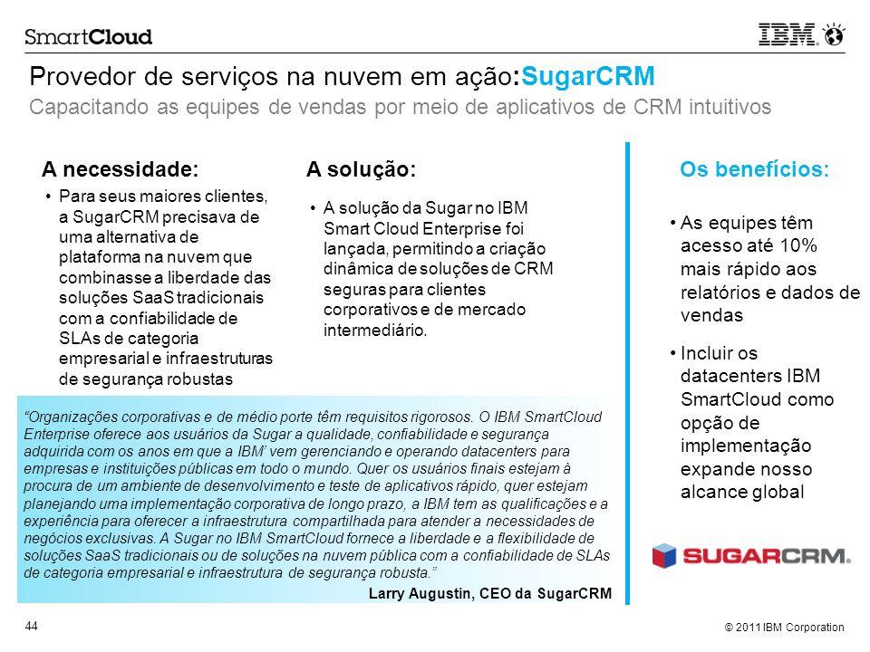 © 2011 IBM Corporation 44 Provedor de serviços na nuvem em ação:SugarCRM Capacitando as equipes de vendas por meio de aplicativos de CRM intuitivos Or