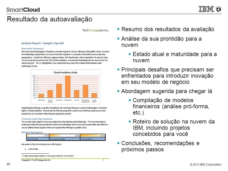 © 2011 IBM Corporation 49 Resultado da autoavaliação Resumo dos resultados da avaliação Análise da sua prontidão para a nuvem Estado atual e maturidad