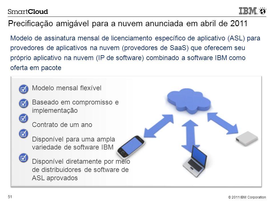 © 2011 IBM Corporation 51 Precificação amigável para a nuvem anunciada em abril de 2011 Modelo mensal flexível Baseado em compromisso e implementação