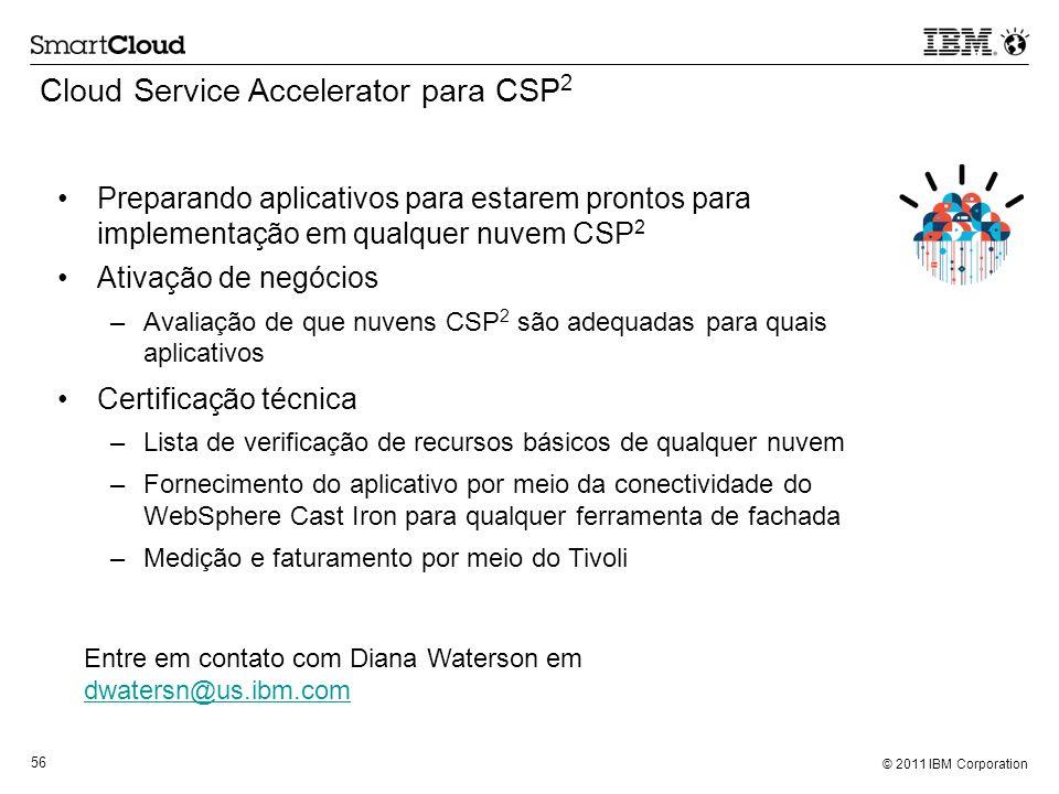 © 2011 IBM Corporation 56 Cloud Service Accelerator para CSP 2 Preparando aplicativos para estarem prontos para implementação em qualquer nuvem CSP 2