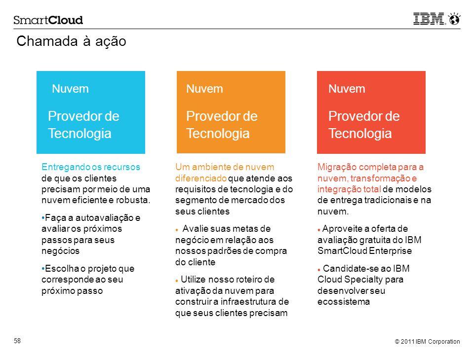 © 2011 IBM Corporation 58 Chamada à ação Entregando os recursos de que os clientes precisam por meio de uma nuvem eficiente e robusta. Faça a autoaval