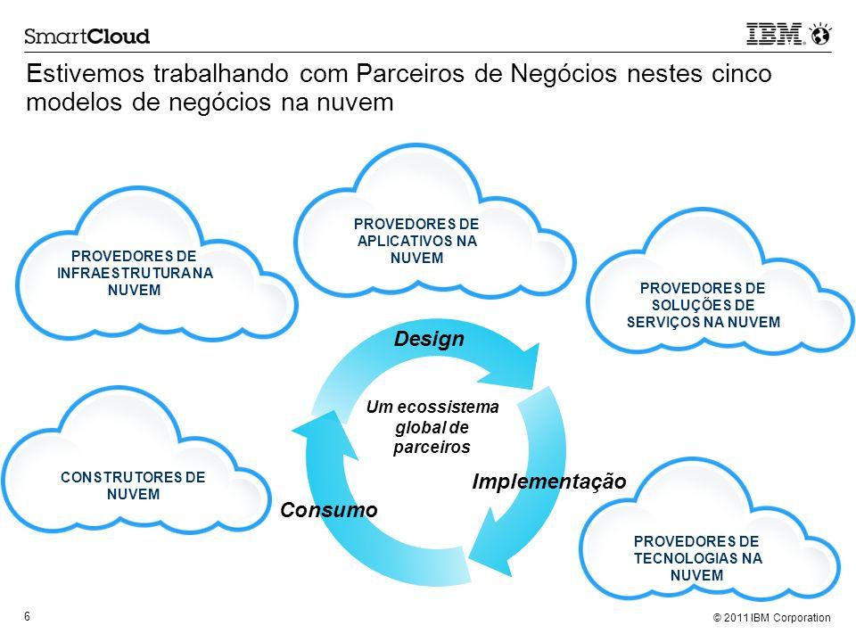 © 2011 IBM Corporation 6 Estivemos trabalhando com Parceiros de Negócios nestes cinco modelos de negócios na nuvem CONSTRUTORES DE NUVEM PROVEDORES DE