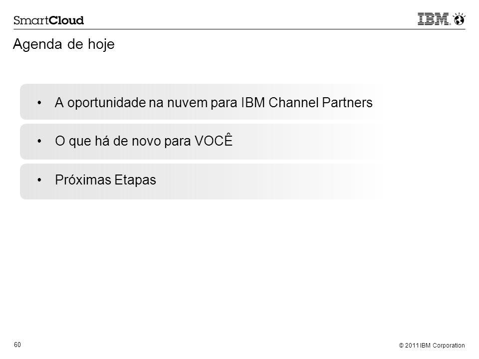 © 2011 IBM Corporation 60 Agenda de hoje A oportunidade na nuvem para IBM Channel Partners O que há de novo para VOCÊ Próximas Etapas