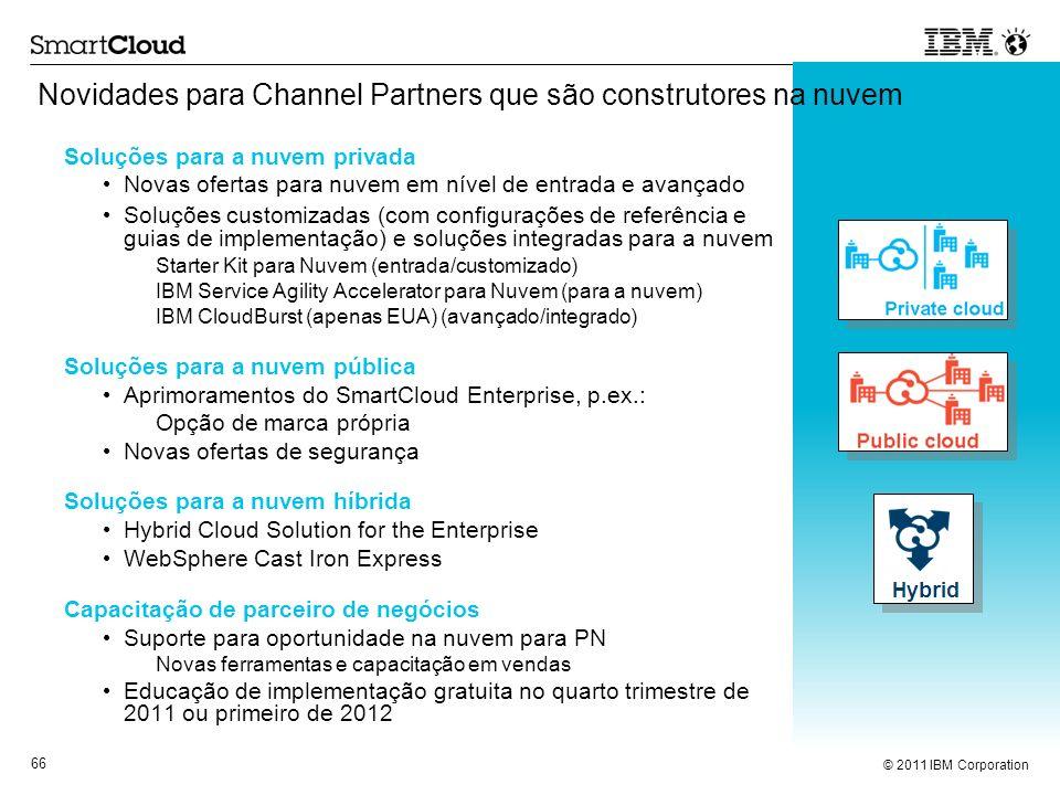 © 2011 IBM Corporation 66 Novidades para Channel Partners que são construtores na nuvem Soluções para a nuvem privada Novas ofertas para nuvem em níve
