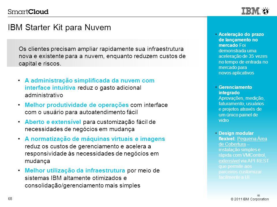 © 2011 IBM Corporation 68 IBM Starter Kit para Nuvem 68 Os clientes precisam ampliar rapidamente sua infraestrutura nova e existente para a nuvem, enq