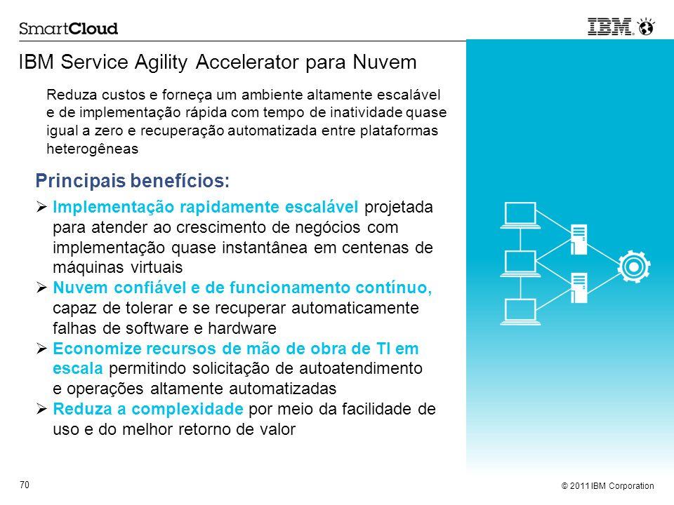 © 2011 IBM Corporation 70 IBM Service Agility Accelerator para Nuvem Principais benefícios: Implementação rapidamente escalável projetada para atender