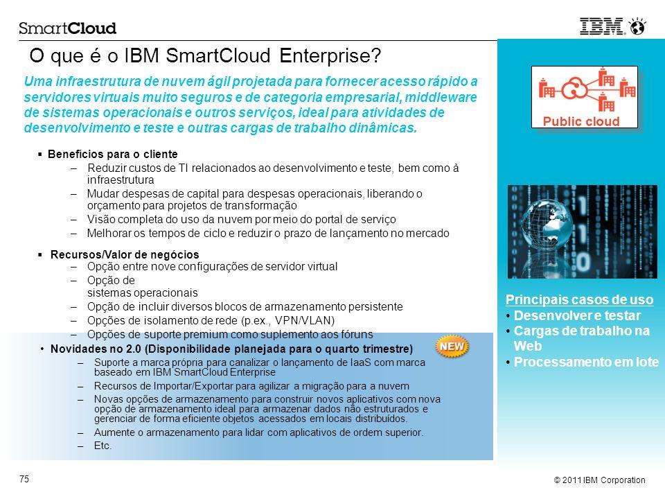 © 2011 IBM Corporation 75 Novidades no 2.0 (Disponibilidade planejada para o quarto trimestre) –Suporte a marca própria para canalizar o lançamento de