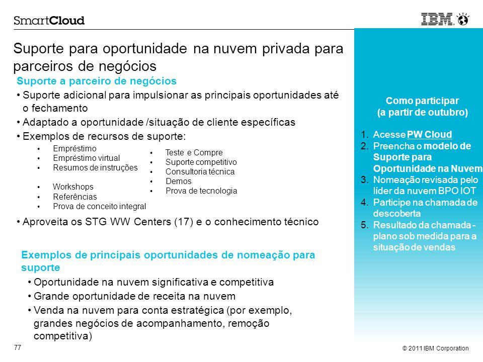 © 2011 IBM Corporation 77 Suporte para oportunidade na nuvem privada para parceiros de negócios Como participar (a partir de outubro) 1.Acesse PW Clou