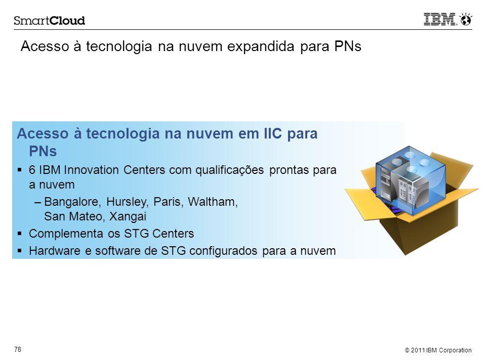© 2011 IBM Corporation 78 Acesso à tecnologia na nuvem expandida para PNs Acesso à tecnologia na nuvem em IIC para PNs 6 IBM Innovation Centers com qu