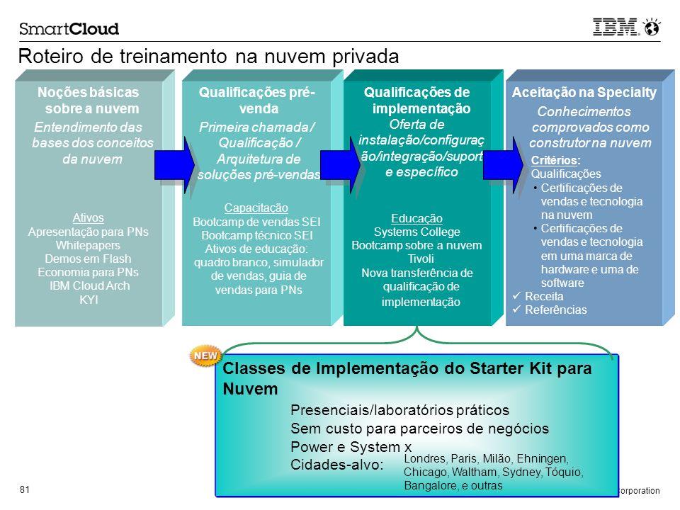 © 2011 IBM Corporation 81 Roteiro de treinamento na nuvem privada Noções básicas sobre a nuvem Entendimento das bases dos conceitos da nuvem Ativos Ap