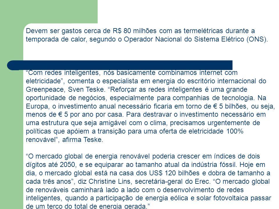Devem ser gastos cerca de R$ 80 milhões com as termelétricas durante a temporada de calor, segundo o Operador Nacional do Sistema Elétrico (ONS).