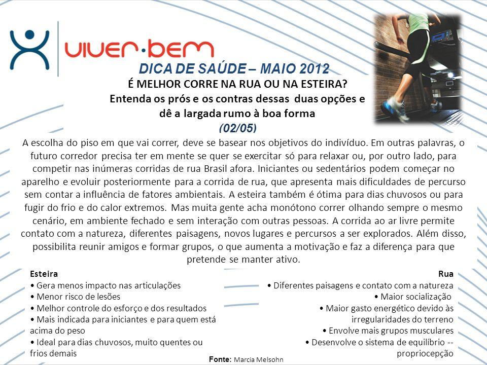 DICA DE SAÚDE – MAIO 2012 É MELHOR CORRE NA RUA OU NA ESTEIRA.