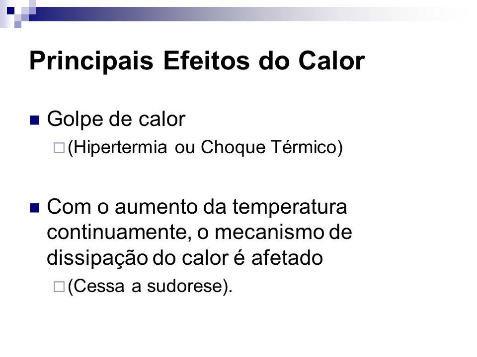 Principais Efeitos do Calor Golpe de calor (Hipertermia ou Choque Térmico) Com o aumento da temperatura continuamente, o mecanismo de dissipação do ca