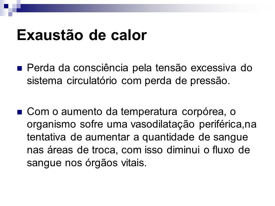 Exaustão de calor Perda da consciência pela tensão excessiva do sistema circulatório com perda de pressão. Com o aumento da temperatura corpórea, o or