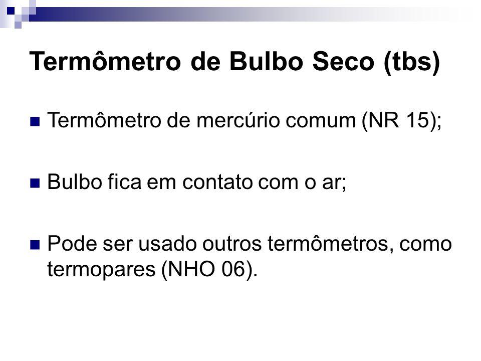 Termômetro de Bulbo Seco (tbs) Termômetro de mercúrio comum (NR 15); Bulbo fica em contato com o ar; Pode ser usado outros termômetros, como termopare