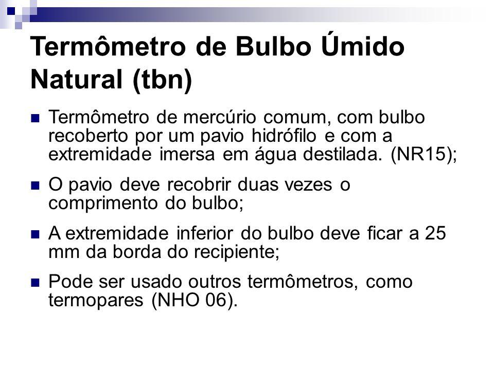 Termômetro de Bulbo Úmido Natural (tbn) Termômetro de mercúrio comum, com bulbo recoberto por um pavio hidrófilo e com a extremidade imersa em água de