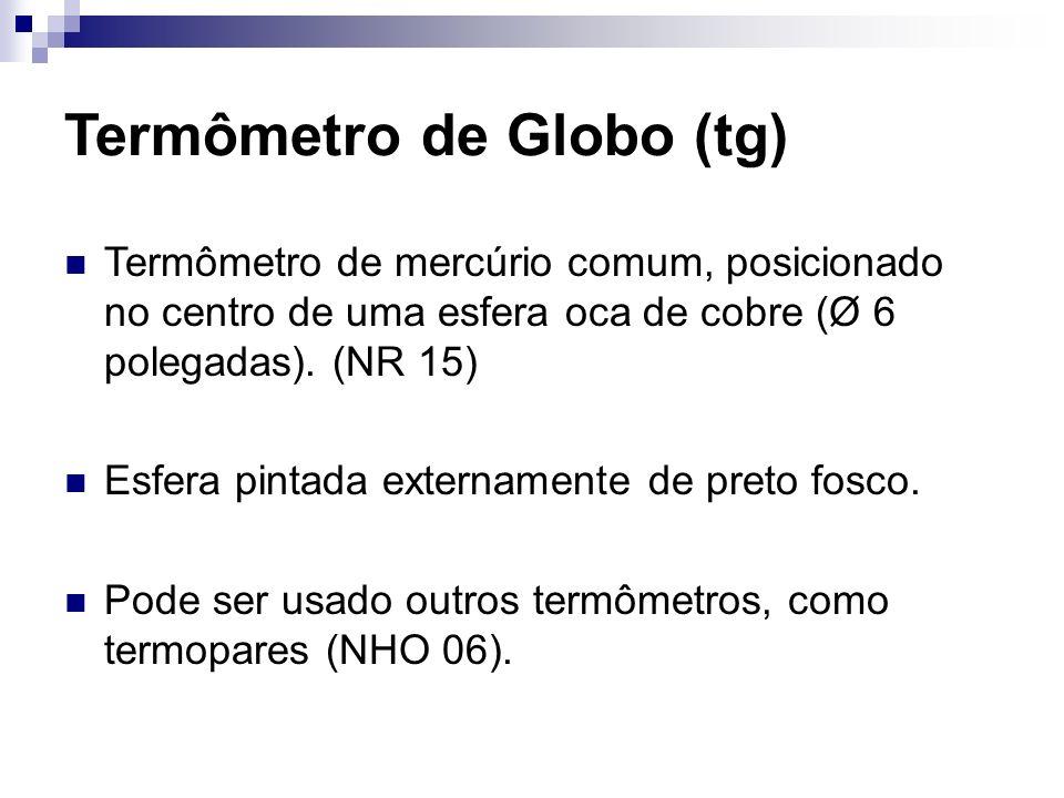 Termômetro de Globo (tg) Termômetro de mercúrio comum, posicionado no centro de uma esfera oca de cobre (Ø 6 polegadas). (NR 15) Esfera pintada extern