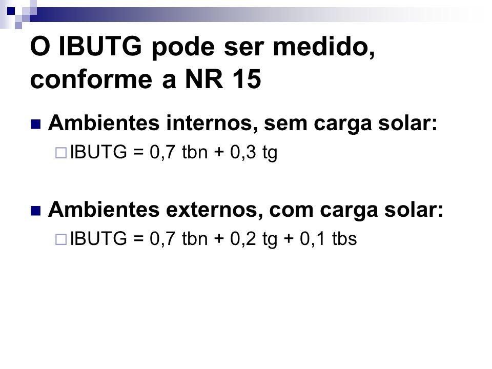 O IBUTG pode ser medido, conforme a NR 15 Ambientes internos, sem carga solar: IBUTG = 0,7 tbn + 0,3 tg Ambientes externos, com carga solar: IBUTG = 0
