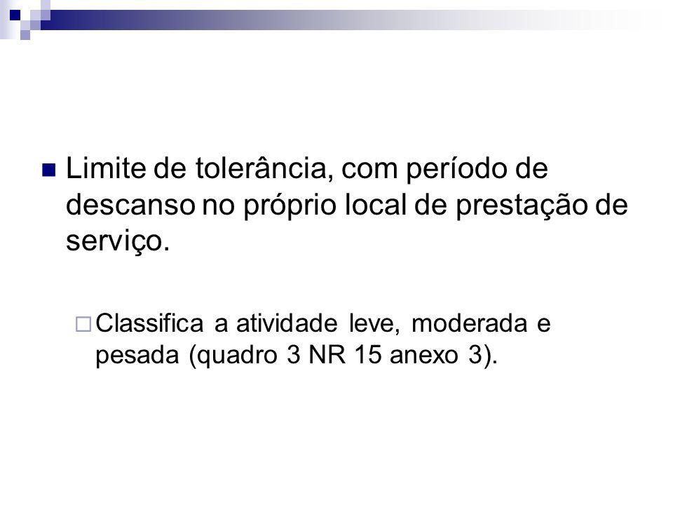 Limite de tolerância, com período de descanso no próprio local de prestação de serviço. Classifica a atividade leve, moderada e pesada (quadro 3 NR 15