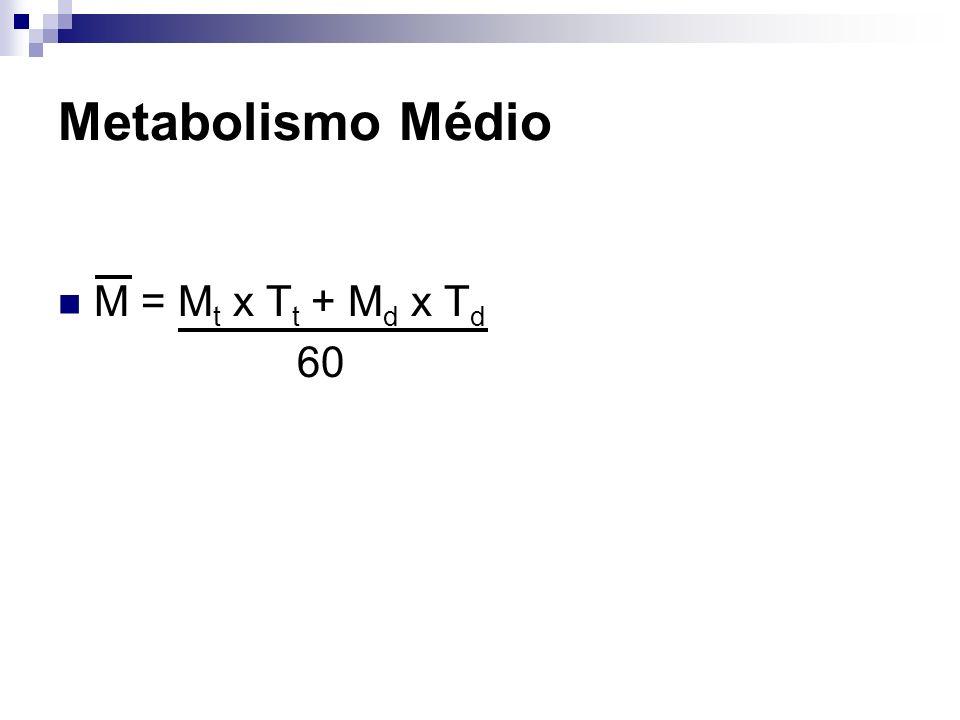 Metabolismo Médio M = M t x T t + M d x T d 60