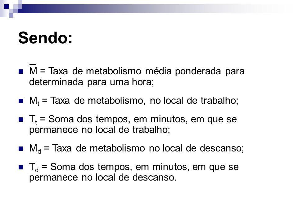 Sendo: M = Taxa de metabolismo média ponderada para determinada para uma hora; M t = Taxa de metabolismo, no local de trabalho; T t = Soma dos tempos,