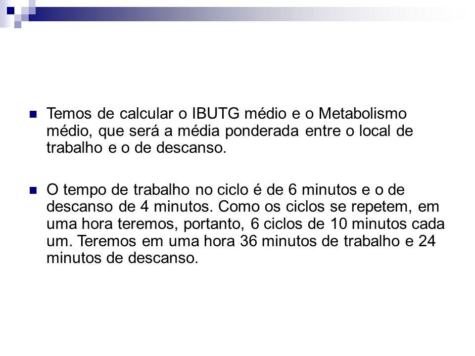 Temos de calcular o IBUTG médio e o Metabolismo médio, que será a média ponderada entre o local de trabalho e o de descanso. O tempo de trabalho no ci