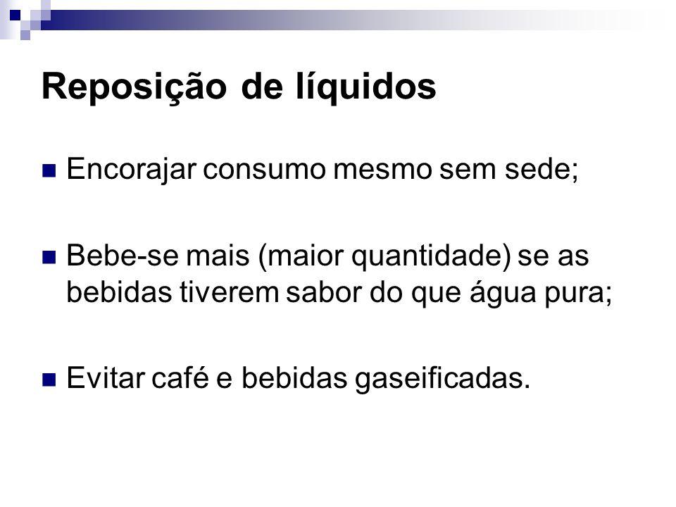 Reposição de líquidos Encorajar consumo mesmo sem sede; Bebe-se mais (maior quantidade) se as bebidas tiverem sabor do que água pura; Evitar café e be