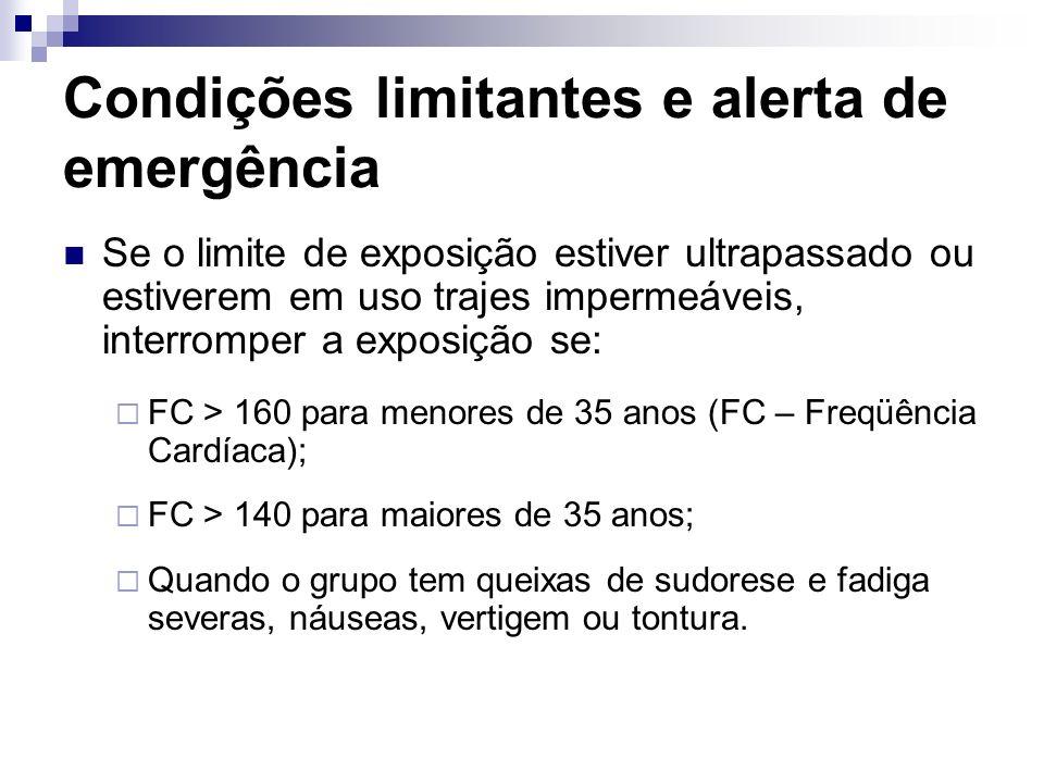 Condições limitantes e alerta de emergência Se o limite de exposição estiver ultrapassado ou estiverem em uso trajes impermeáveis, interromper a expos