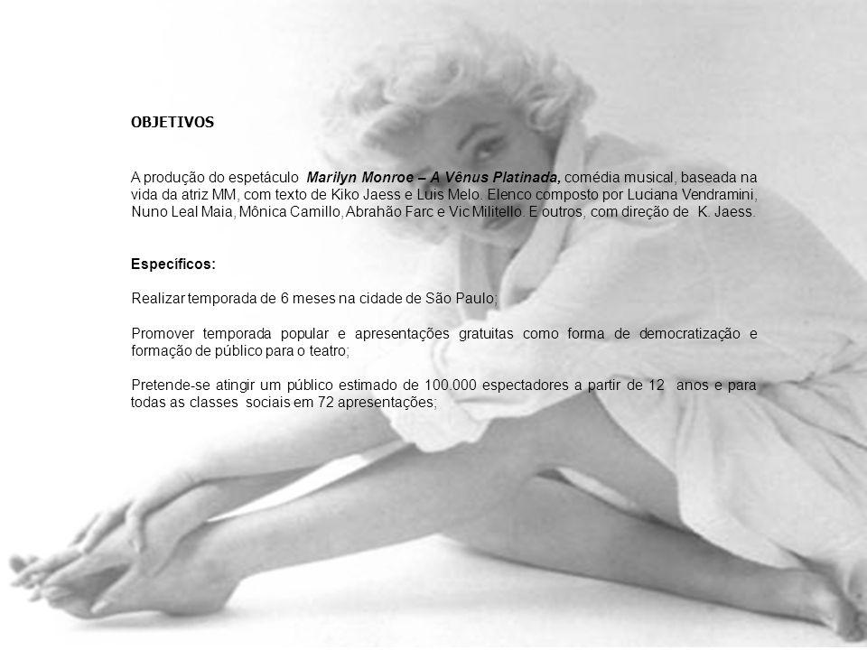 OBJETIVOS A produção do espetáculo Marilyn Monroe – A Vênus Platinada, comédia musical, baseada na vida da atriz MM, com texto de Kiko Jaess e Luis Me