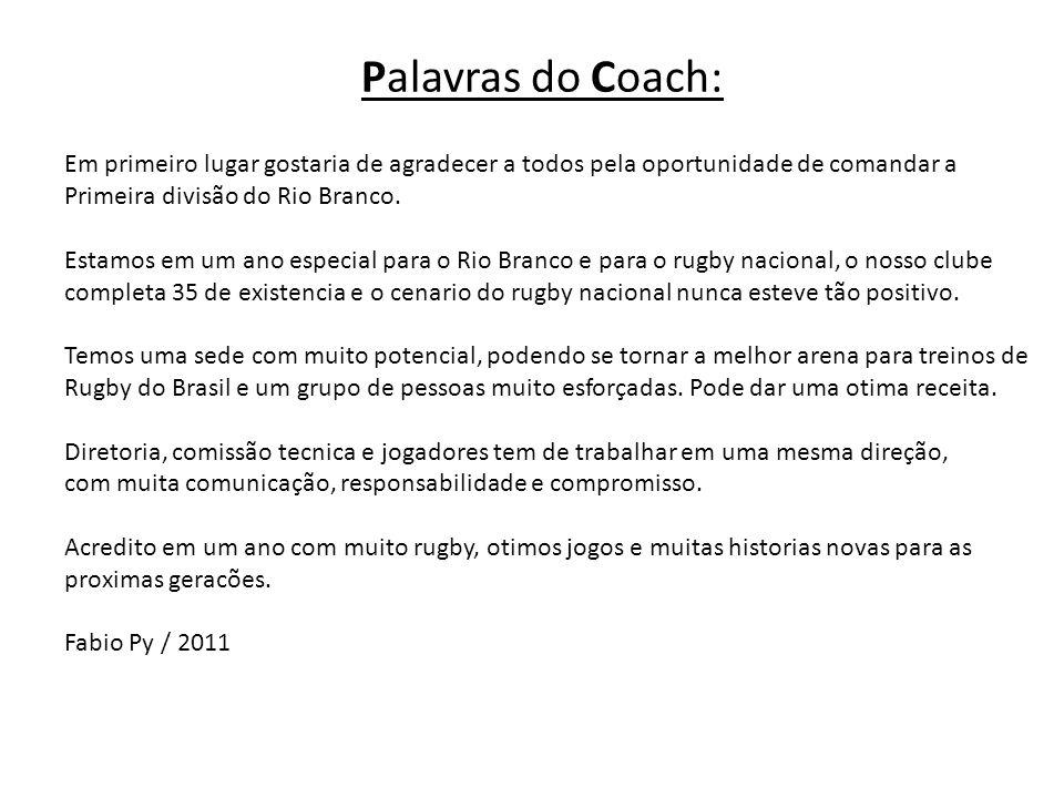 Palavras do Coach: Em primeiro lugar gostaria de agradecer a todos pela oportunidade de comandar a Primeira divisão do Rio Branco. Estamos em um ano e