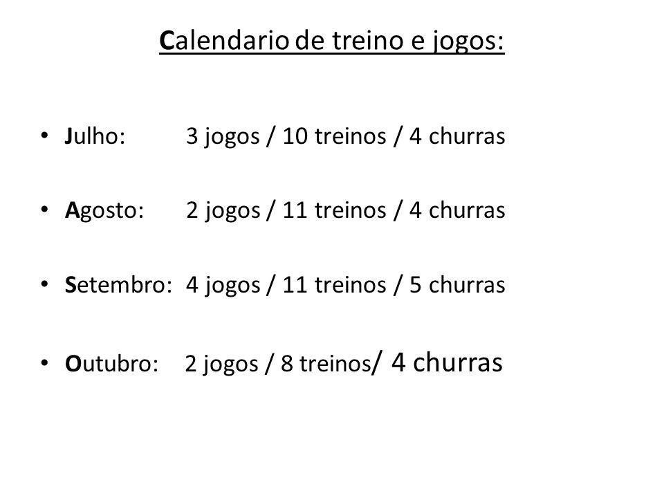 Calendario de treino e jogos: Julho: 3 jogos / 10 treinos / 4 churras Agosto: 2 jogos / 11 treinos / 4 churras Setembro: 4 jogos / 11 treinos / 5 chur