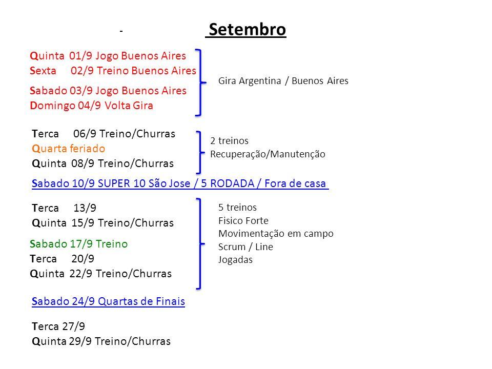 Quinta 01/9 Jogo Buenos Aires Sexta 02/9 Treino Buenos Aires Terca 06/9 Treino/Churras Quarta feriado Quinta 08/9 Treino/Churras Terca 13/9 Quinta 15/