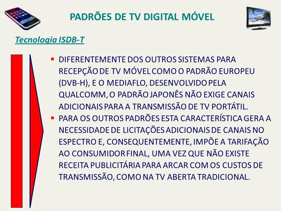 Tecnologia ISDB-T PADRÕES DE TV DIGITAL MÓVEL DIFERENTEMENTE DOS OUTROS SISTEMAS PARA RECEPÇÃO DE TV MÓVEL COMO O PADRÃO EUROPEU (DVB-H), E O MEDIAFLO, DESENVOLVIDO PELA QUALCOMM, O PADRÃO JAPONÊS NÃO EXIGE CANAIS ADICIONAIS PARA A TRANSMISSÃO DE TV PORTÁTIL.