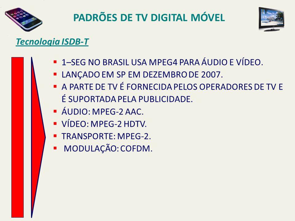 Tecnologia ISDB-T PADRÕES DE TV DIGITAL MÓVEL 1–SEG NO BRASIL USA MPEG4 PARA ÁUDIO E VÍDEO.