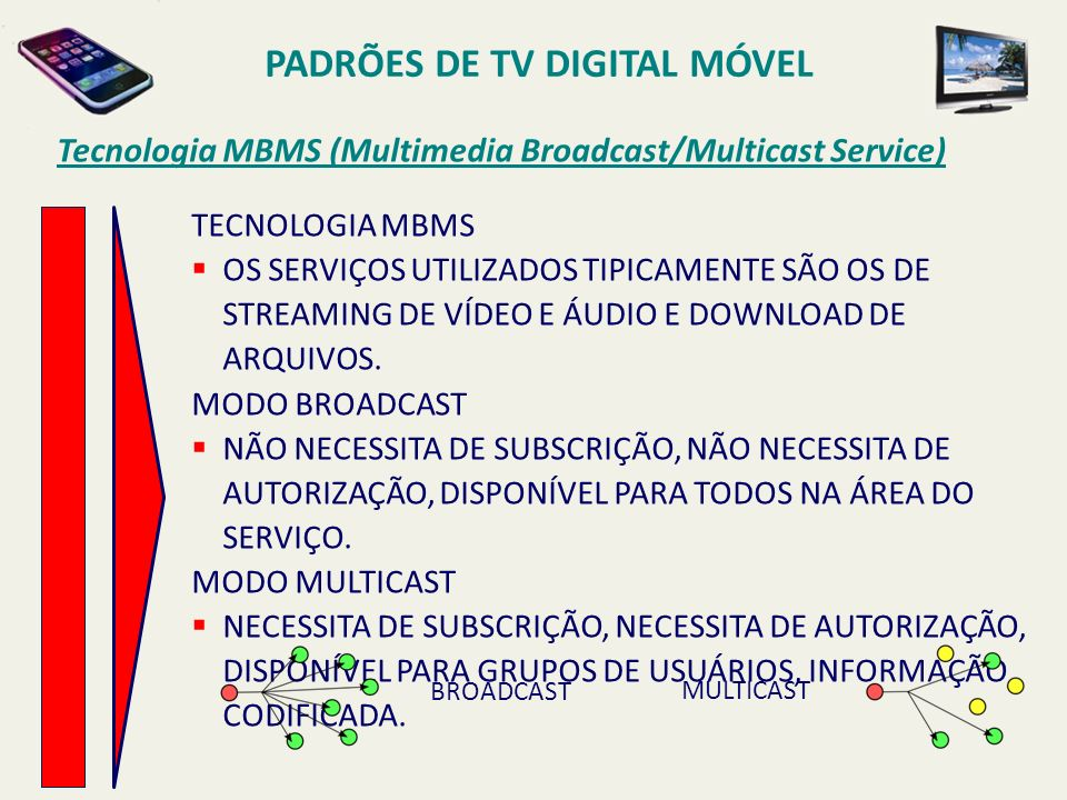 PADRÕES DE TV DIGITAL MÓVEL TECNOLOGIA MBMS OS SERVIÇOS UTILIZADOS TIPICAMENTE SÃO OS DE STREAMING DE VÍDEO E ÁUDIO E DOWNLOAD DE ARQUIVOS.
