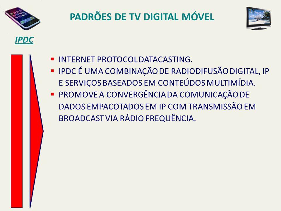 PADRÕES DE TV DIGITAL MÓVEL INTERNET PROTOCOL DATACASTING.