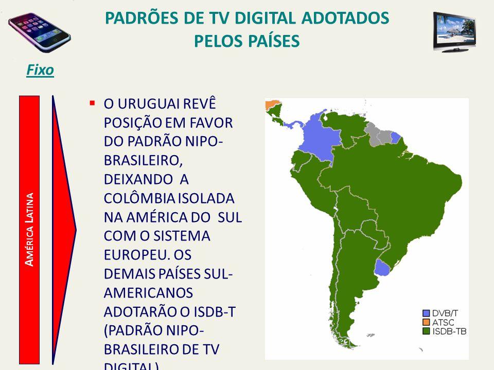 Fixo PADRÕES DE TV DIGITAL ADOTADOS PELOS PAÍSES A MÉRICA L ATINA O URUGUAI REVÊ POSIÇÃO EM FAVOR DO PADRÃO NIPO- BRASILEIRO, DEIXANDO A COLÔMBIA ISOLADA NA AMÉRICA DO SUL COM O SISTEMA EUROPEU.