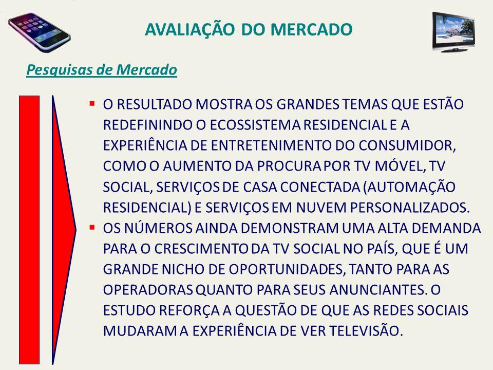 AVALIAÇÃO DO MERCADO O RESULTADO MOSTRA OS GRANDES TEMAS QUE ESTÃO REDEFININDO O ECOSSISTEMA RESIDENCIAL E A EXPERIÊNCIA DE ENTRETENIMENTO DO CONSUMIDOR, COMO O AUMENTO DA PROCURA POR TV MÓVEL, TV SOCIAL, SERVIÇOS DE CASA CONECTADA (AUTOMAÇÃO RESIDENCIAL) E SERVIÇOS EM NUVEM PERSONALIZADOS.