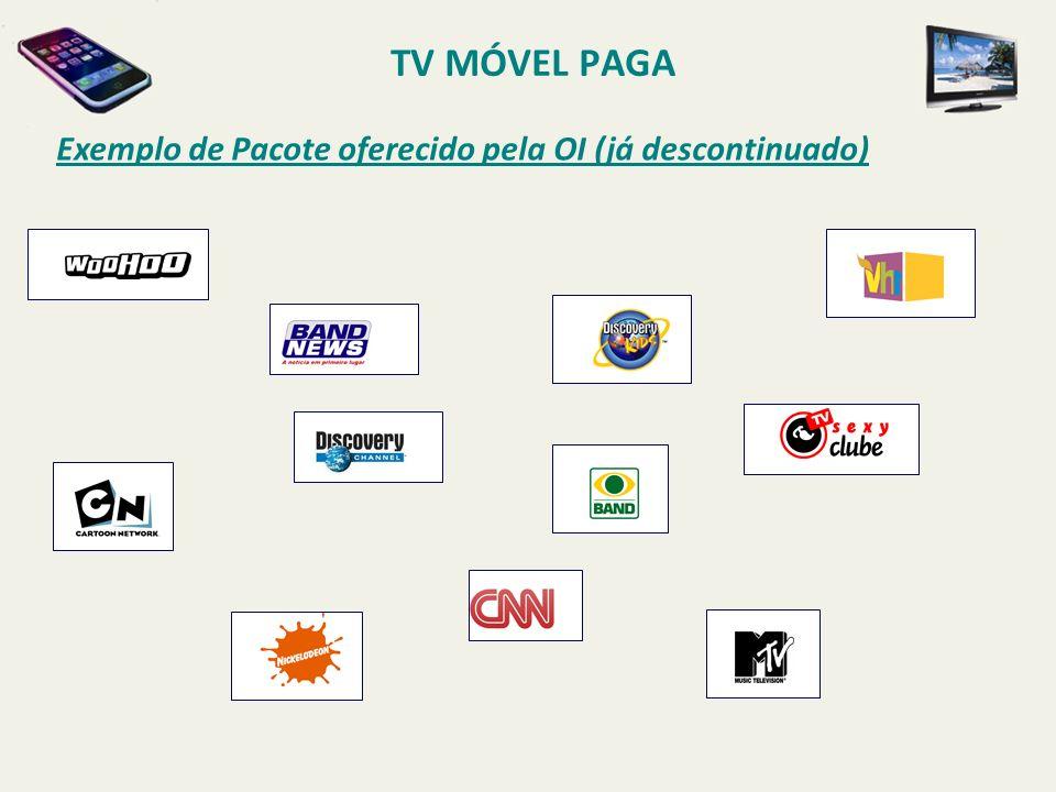 Exemplo de Pacote oferecido pela OI (já descontinuado) TV MÓVEL PAGA