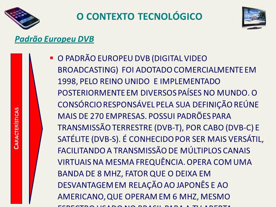 C ARACTERÍSTICAS O PADRÃO EUROPEU DVB (DIGITAL VIDEO BROADCASTING) FOI ADOTADO COMERCIALMENTE EM 1998, PELO REINO UNIDO E IMPLEMENTADO POSTERIORMENTE EM DIVERSOS PAÍSES NO MUNDO.