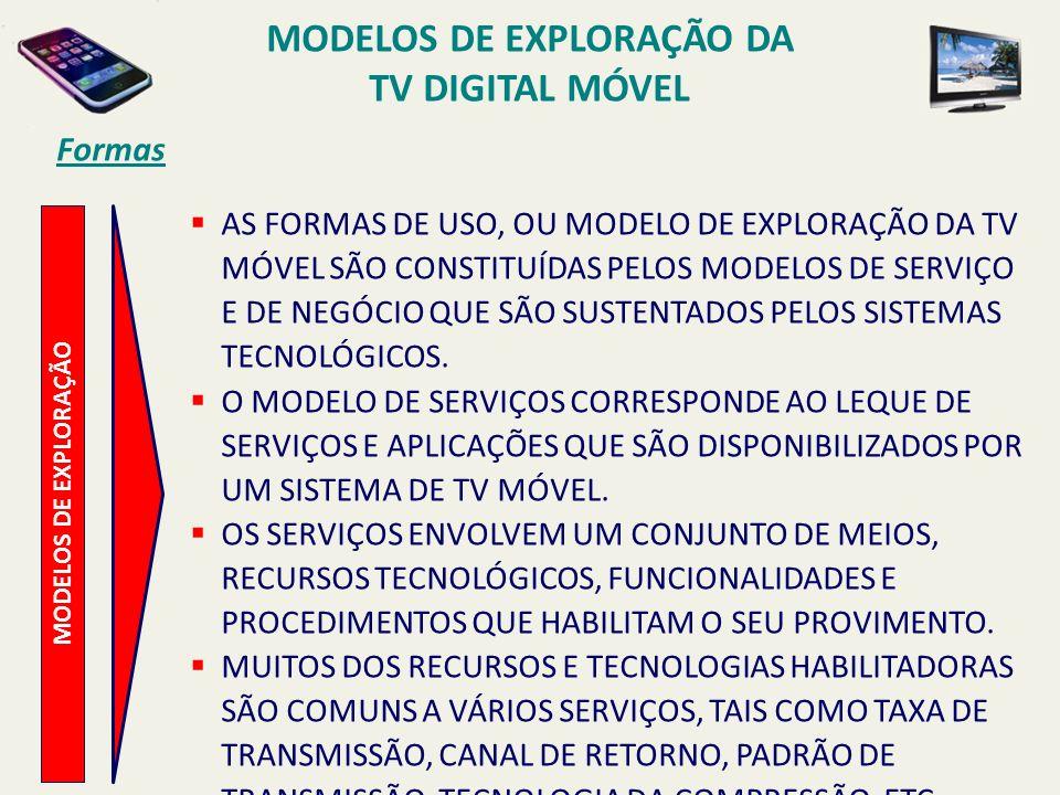 MODELOS DE EXPLORAÇÃO AS FORMAS DE USO, OU MODELO DE EXPLORAÇÃO DA TV MÓVEL SÃO CONSTITUÍDAS PELOS MODELOS DE SERVIÇO E DE NEGÓCIO QUE SÃO SUSTENTADOS PELOS SISTEMAS TECNOLÓGICOS.