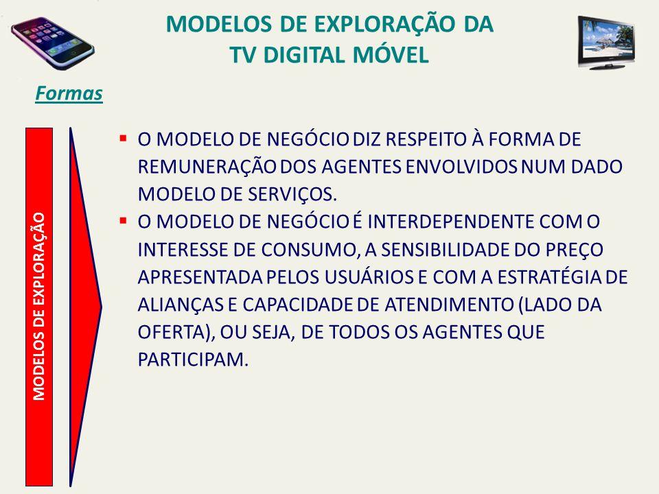 MODELOS DE EXPLORAÇÃO O MODELO DE NEGÓCIO DIZ RESPEITO À FORMA DE REMUNERAÇÃO DOS AGENTES ENVOLVIDOS NUM DADO MODELO DE SERVIÇOS.